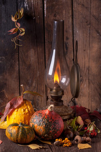 Old Lamp With Pumpkins