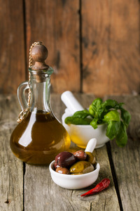 Olive Oil With Olives And Basil