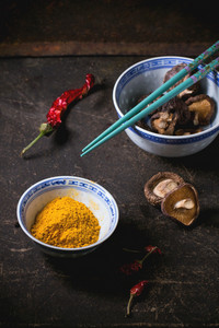 Tumeric Powder And Shiitake Mushrooms