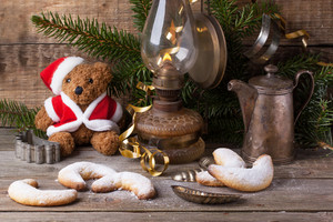 Christmas Decoration With Teddy Bear With Cookies