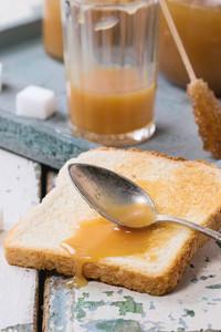 Toast With Caramel Sauce