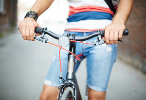 Close-up Of Guy With Bicycle Outside