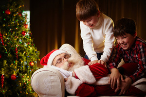 Naughty Boys Trying To Wake Santa Up