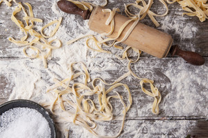 Raw Homemade Pasta With Rolling Pin