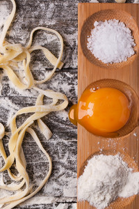 Raw Homemade Pasta With With Egg Yolk