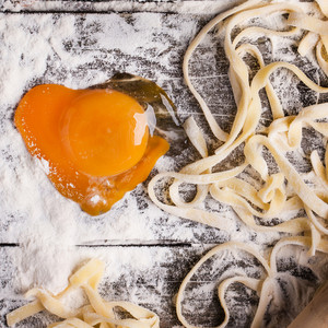 Raw Homemade Pasta With With Egg Yolk As Heart