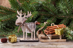 Christmas Card With Cinnamon And Deer
