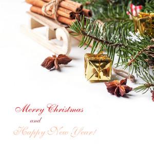 Christmas Card With Sled And Cinnamon