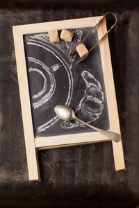 Chalkboard With Sugar And Painted Coffee