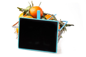 Food Basket Of Tangerines With Chalkboard