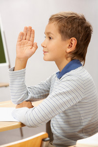 Portrait Of Smart Lad At His Place Raising Hand To Answer During Lesson