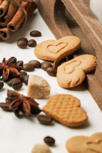 Cookies As Hearts With Coffee Beans And Spices