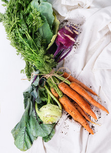 Bundle Of Carrots And Kohlrabi
