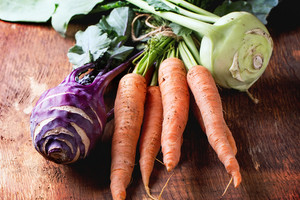Bundle Of Carrots And Kohlrabi