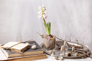 Easter Interior With Flower And Old Books