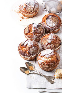 Homemade Muffins Over White