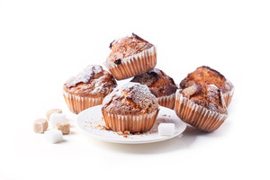 Sugar Muffins Isolated Over White