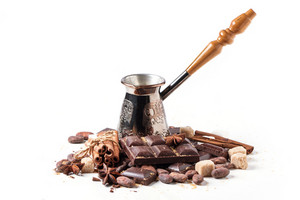 Copper Cezve With Dark Chocolate And Cocoa Beans