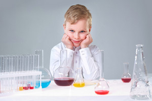 Cute Boy Taking Part In The School Scientific Project