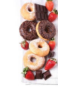 Set Of Donuts With Fresh Strawberries