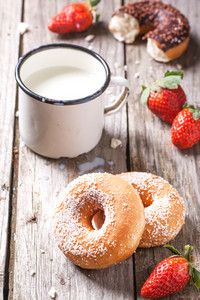 Donuts With Milk And Fresh Strawberries
