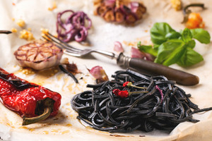 Black Spaghetti With Grilled Vegetables