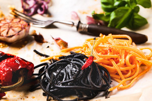 Black And Orange Spaghetti With Grilled Vegetables