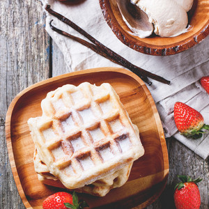 Waffles With Strawberries And Ice Cream