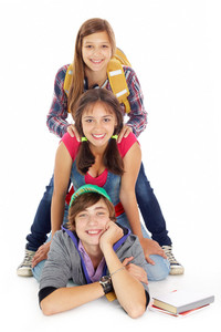 Cute Teens In Casual Wear Smiling At Camera