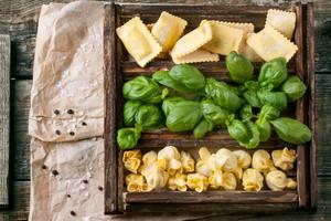 Box Of Pasta Ravioli And Basil