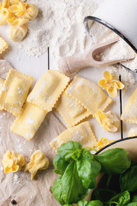 Pasta Ravioli On Flour With Basil