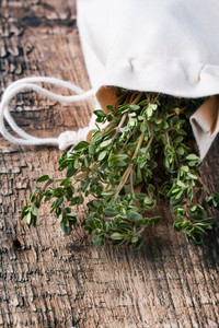 Thyme On Wooden Table