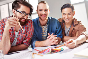 Friendly Guys Discussing Palette