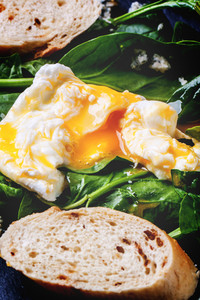 Poached Egg And Bread On Spinach