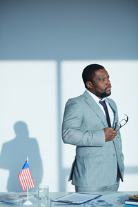 African-american Employee In Elegant Suit