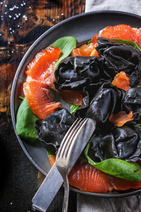 Black Ravioli With Salted Salmon