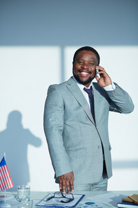 African-american Businessman Speaking On The Phone