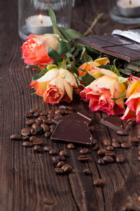 Roses  Chocolate And Coffee Beans