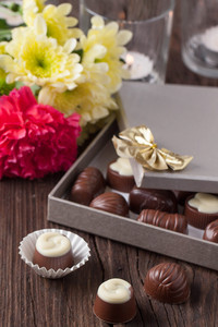 Chocolate Candy And Flowers
