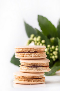 Homemade Macaroons With Flowers