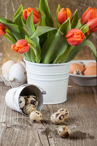 Quail Egg With And Bucket Of Flowers