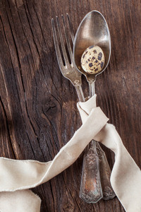Vintage Silverware With Quail Egg