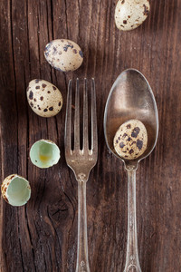 Vintage Silverware With Quail Eggs