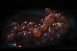 Red Grapes Over Black