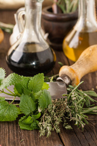 Oil And Vinegar, Knife With Herb