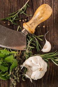 Garlic,  Knife And Herbs