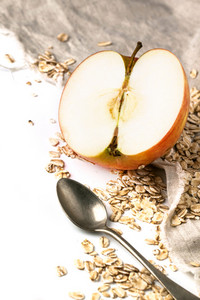 Apple And Oatmeal Over White
