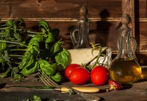 Basil,  Garlic, Tomatoes, And Cheese