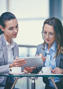 Image Of Two Confident Businesswomen Working With Touchpad In Office