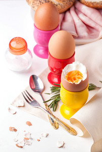 Boiled Eggs, Salt,bread And Ham